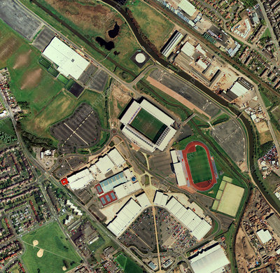 Wigan Athletic's JJB Stadium, aerial view