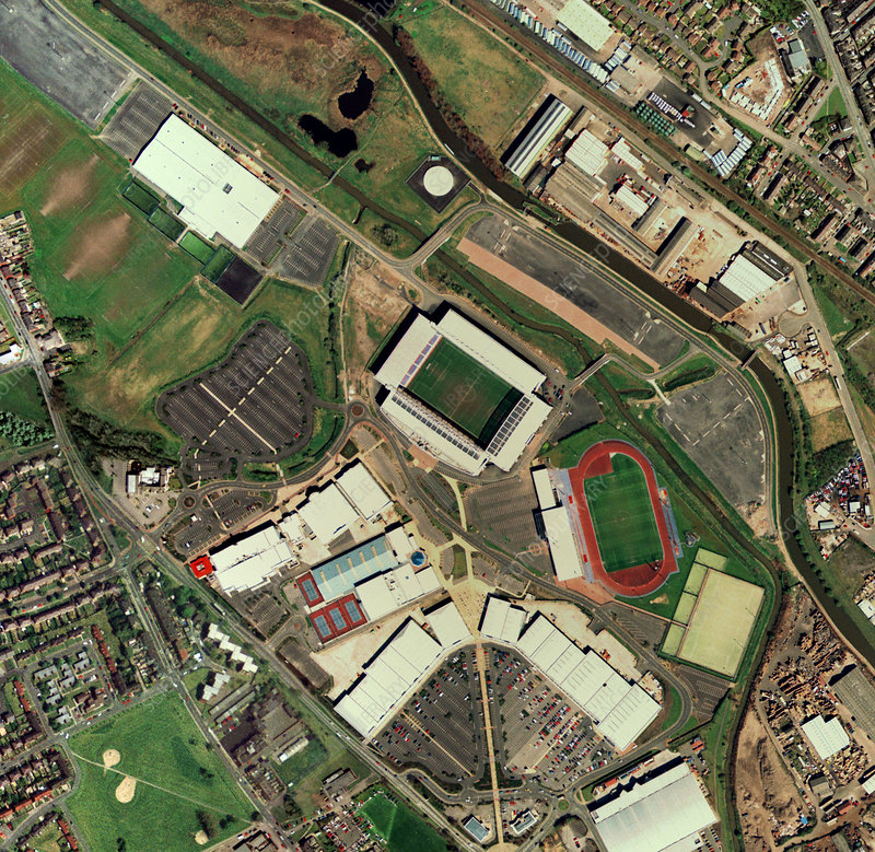 Wigan Athletic's JJB Stadium, aerial view