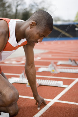 Athlete at the starting blocks