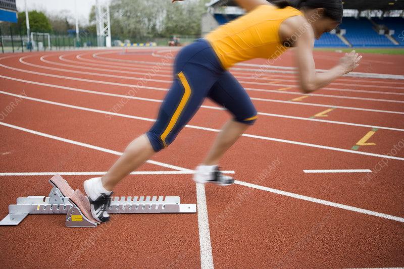 Athlete leaving the blocks