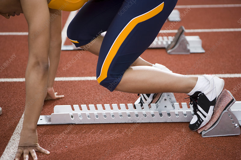 Athlete at the starting blocks