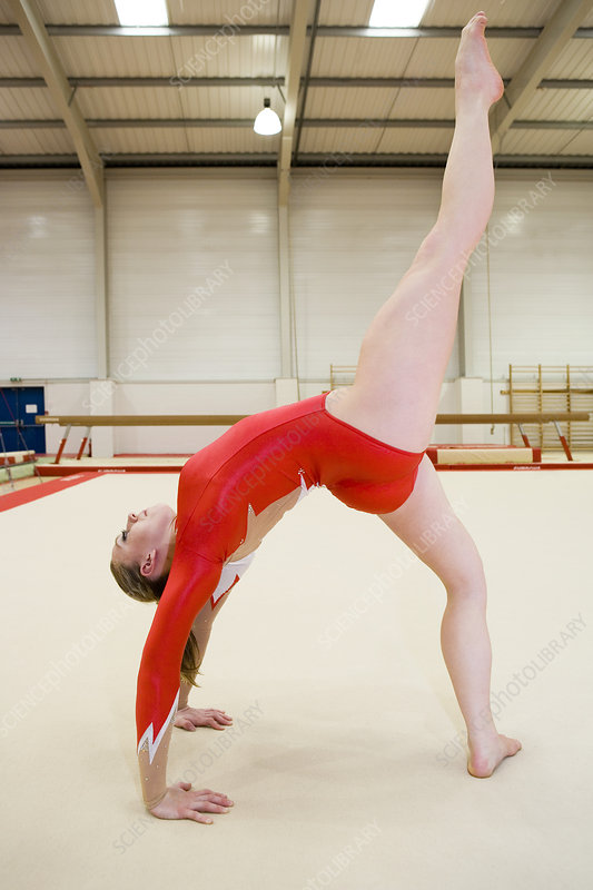 Gymnast performing a back walkover