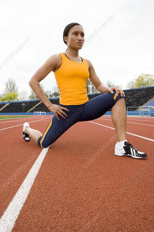 Athlete stretching