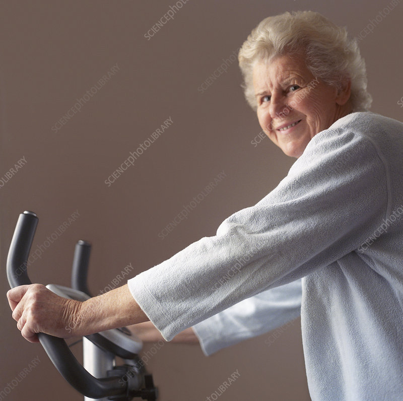 Elderly woman exercising