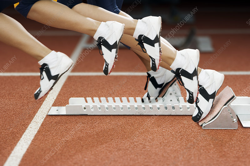Athlete leaving the blocks