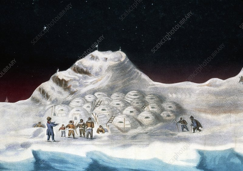Igloo village with eskimos greeting an explorer