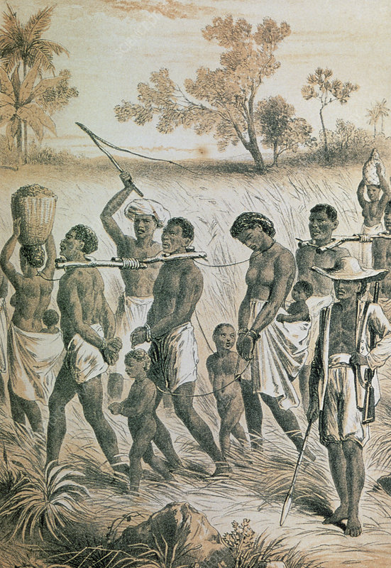 Engraving of native African slaves