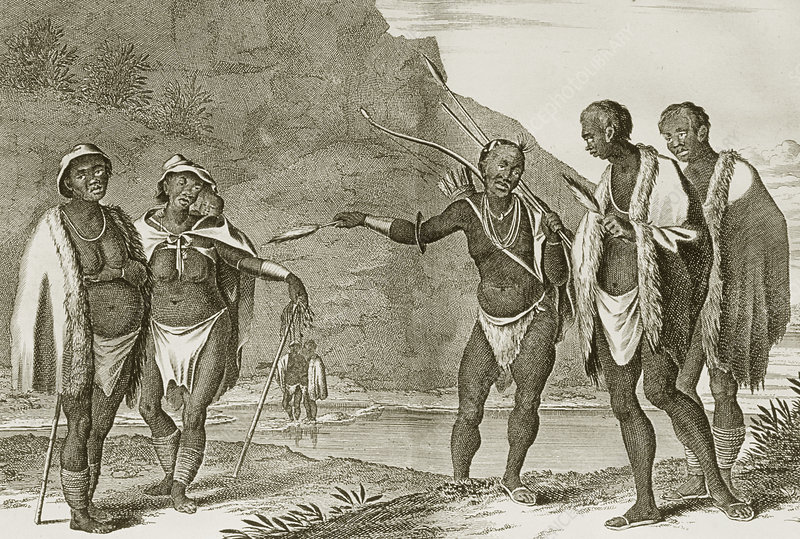 Historical artwork of Hottentot tribespeople