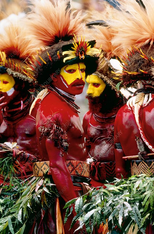 Male dancers from the Huli tribe, Papua New Guinea