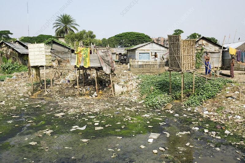 Slum toilets in Dhaka, Bangladesh