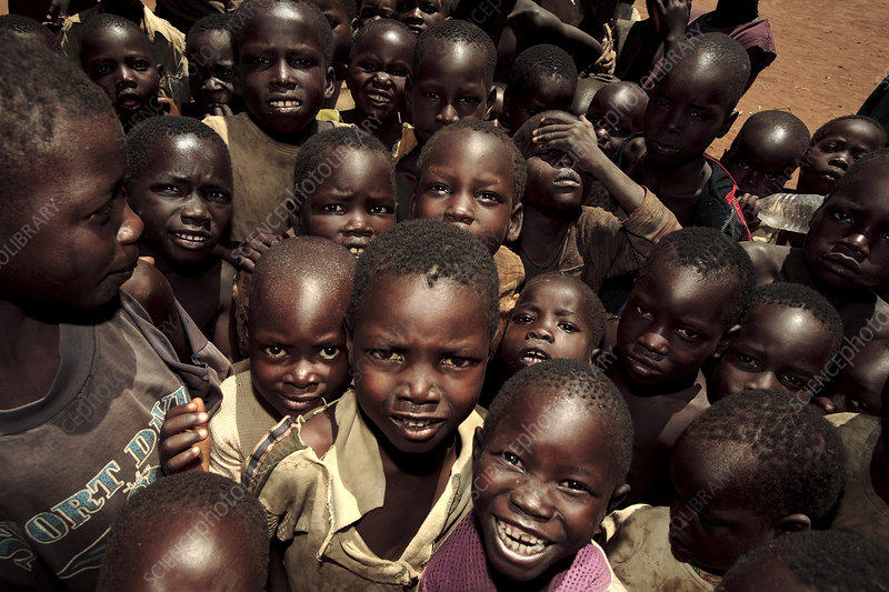 Crowd of children, Uganda