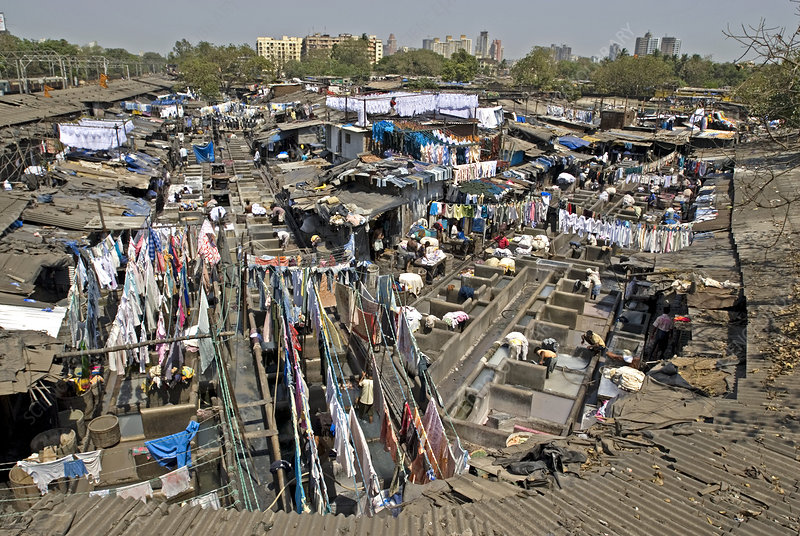Dhobis washing clothes, Mumbai, India