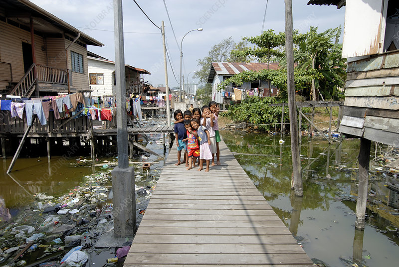 Children on a boardwalk, Malaysia