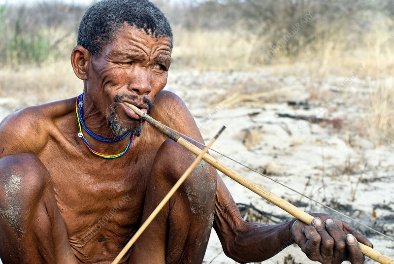 Bushman playing traditional instrument
