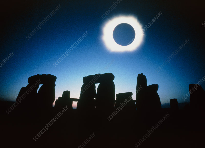 Composite image of Stonehenge & solar eclipse