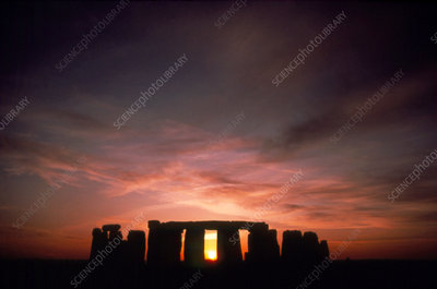 Midwinter sunset at Stonehenge