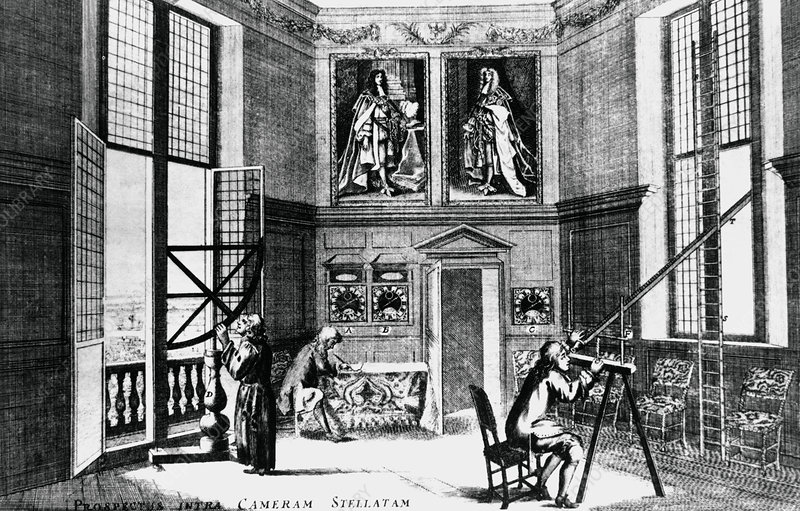 Artwork of Greenwich Observatory interior in 1676