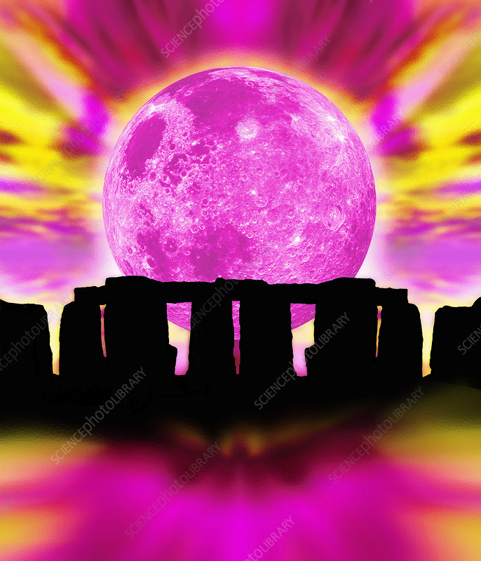 Computer illustration of Stonehenge and the Moon
