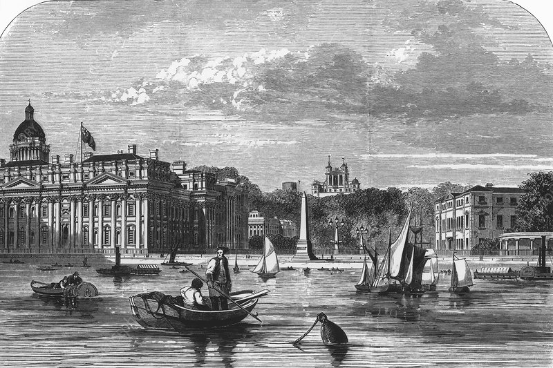 Greenwich buildings from the Thames, 1891