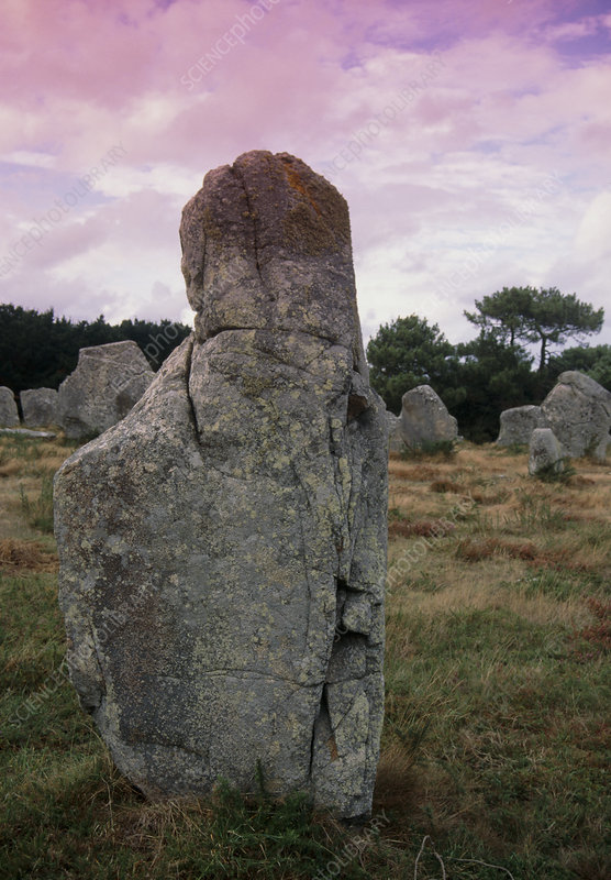 Stone Age standing stones near Carnac, France