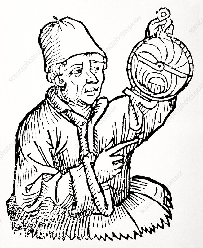 An astronomer with his astrolabe
