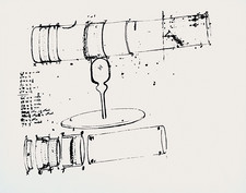 Newton's own drawing of his reflecting telescope