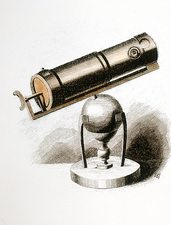 Colored engraving of Newton's reflecting telescope