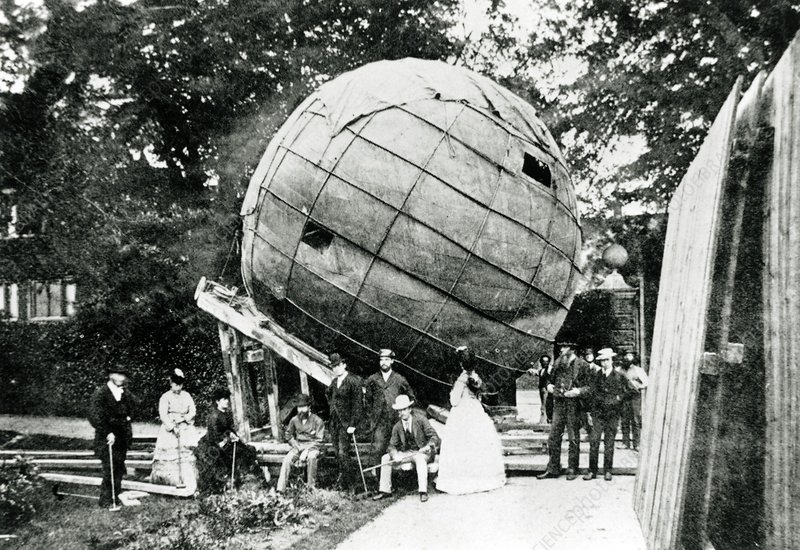 Exterior view of an early, spherical planetarium