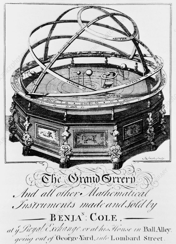 Engraving of a mechanical model of the solar systm