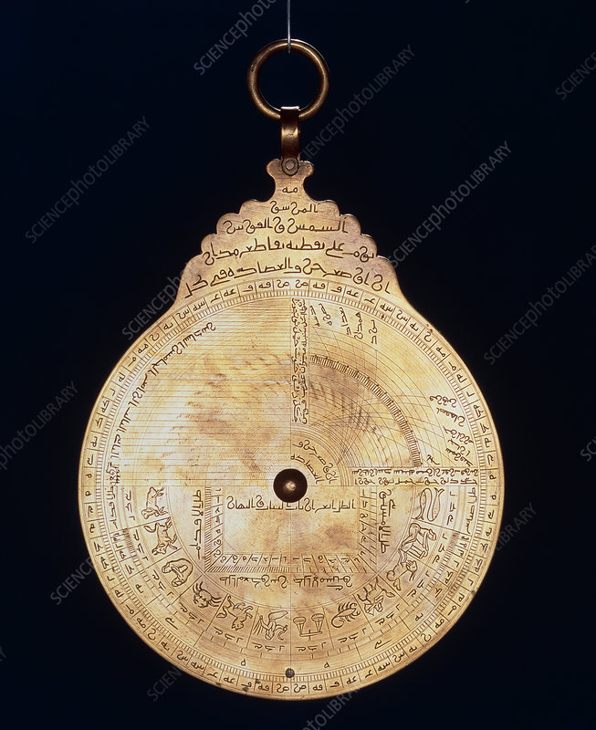 Zodiac on a brass astrolabe from the middle ages
