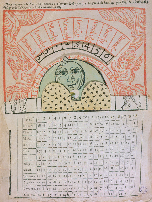 Lunar calendar to calculate the phase of the Moon