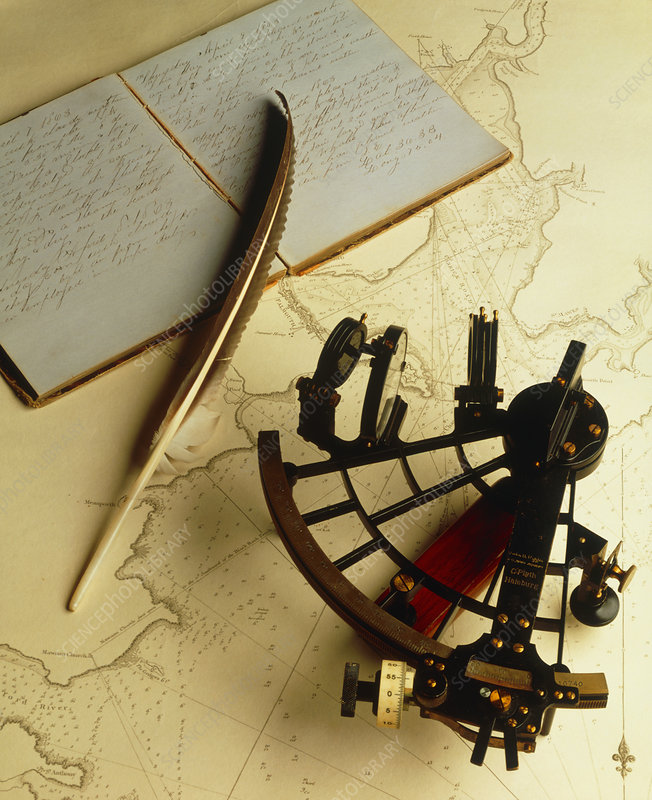 Navigational sextant on a historical map