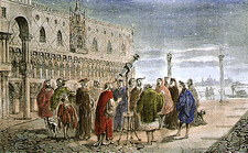 Galileo demonstrating his telescope in 1609