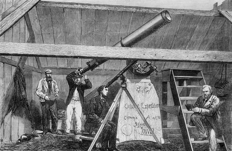 Engraving of astronomers observing an eclipse
