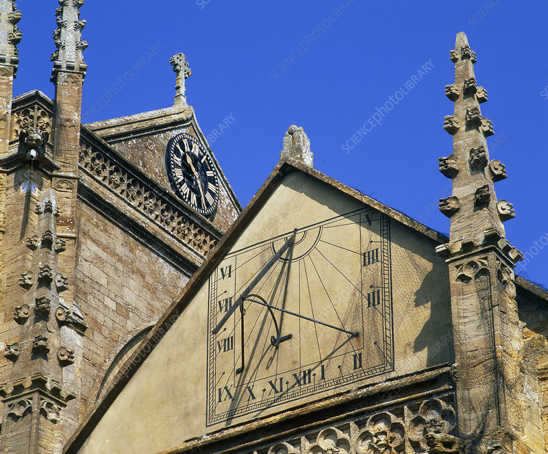 Sundial on the wall of a church