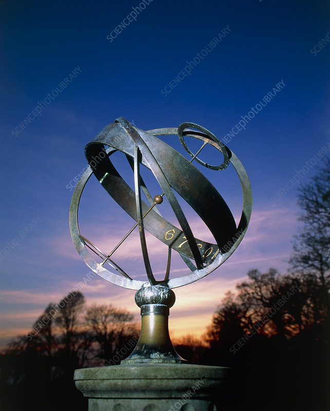 View of an armillary type of equinoctial sundial