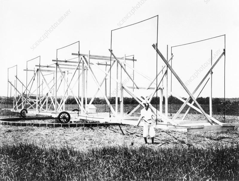 Karl Jansky and his radio antenna, 1930s