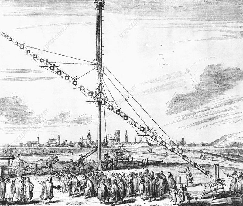 Hevelius' 150-foot telescope, 1673