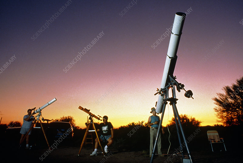 Amateur astronomers and their telescopes.