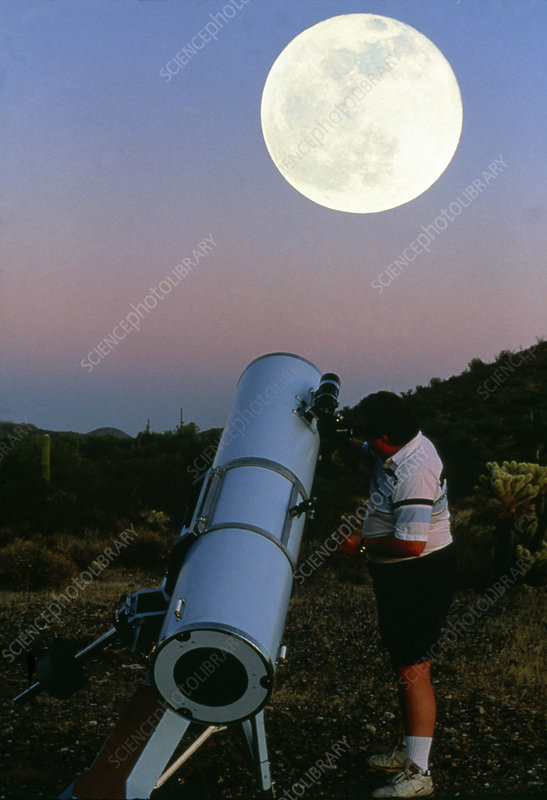 Amateur astronomer looking at the full Moon.
