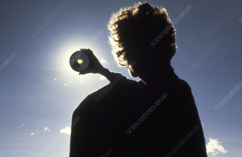 Amateur astronomer observing a solar eclipse