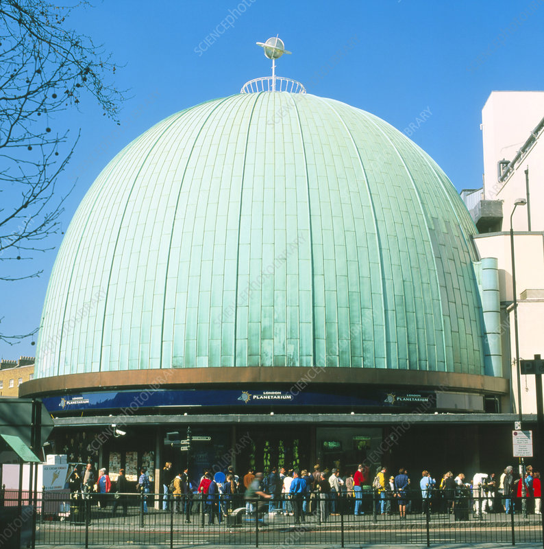 People queuing outside London Planetarium, England