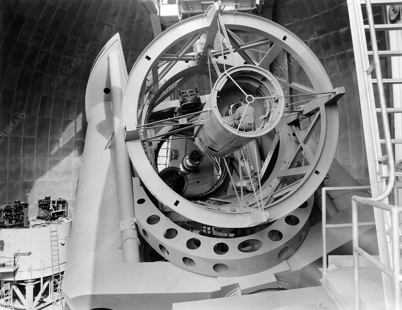 200 inch Hale telescope with observer