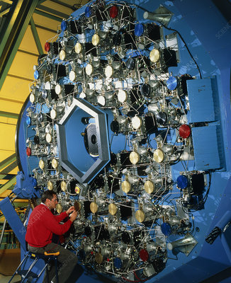 Technician with the WIYN telescope's active optics