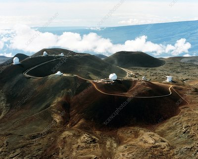 Top of Mauma Kea in Hawaii with several telescopes