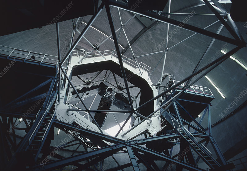 View of the primary mirror of the Keck Telescope