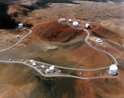 Telescope domes on the top of Mauna Kea volcano