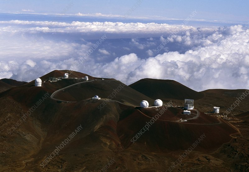 Aerial view of the observatories at Mauna Kea