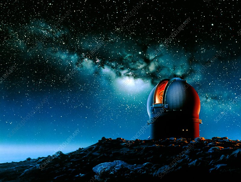 Artwork based on Mauna Kea of a telescope dome
