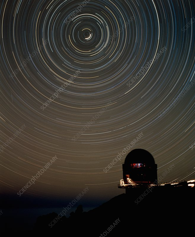 Star trails over dome of Nordic Optical Telescope